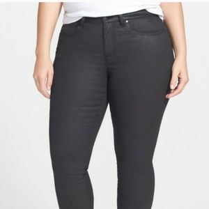 Eileen Fisher Woman Black Waxed Denim Size 16W